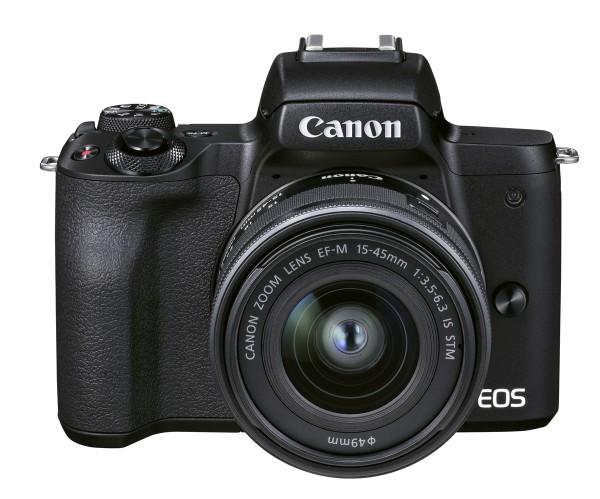 Canon EOS M50 II schwarz+EF-M 15-45 mm IS STM Spezialkit + Hadley Akku + SD Karte 32GB