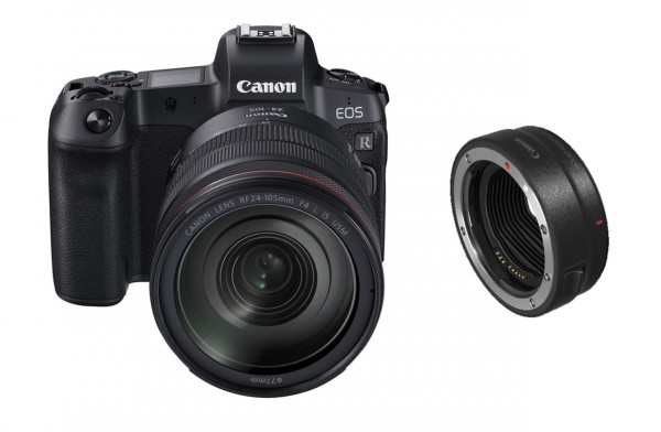 Canon EOS R + EF to RF adapter + RF 24-105mm f/4L IS USM Systemkamera 30.3MP CMOS 6720 x 4480Pixel Schwarz