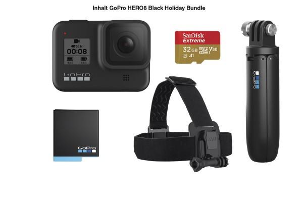 GoPro HERO8 Black Shorty + Akku + Speicherkarte + Kopfband